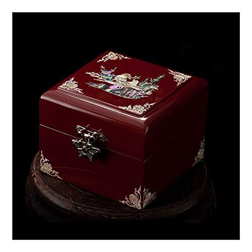 Caja Joyero Caja de joyería única de alta gama alta antigua joyería de madera tenedor / organizador diseño tradicional vintage, ideal joyería almacenaje contenedor decoración de escritorio, regalos Je