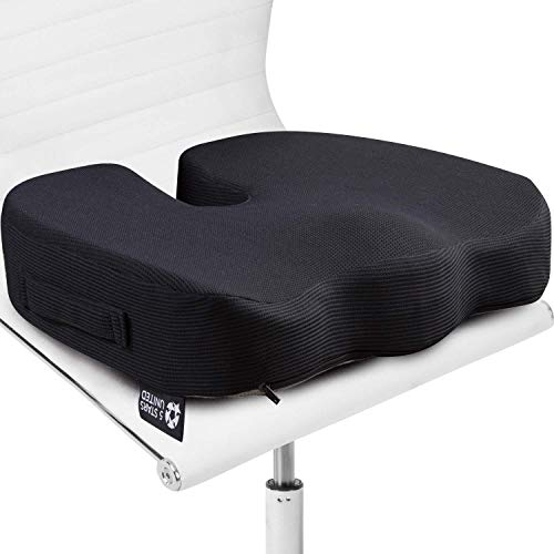 Seat Cushion Pillow for Office Chair - 100% Memory Foam Firm Coccyx Pad - Tailbone, Sciatica, Lower Back Pain Relief - Contoured Posture Corrector for Car, Wheelchair, Computer and Desk Chairs
