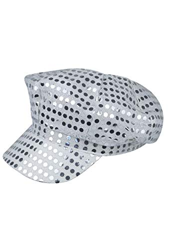 Silver Shiny Sequin Disco Hat for Ladies