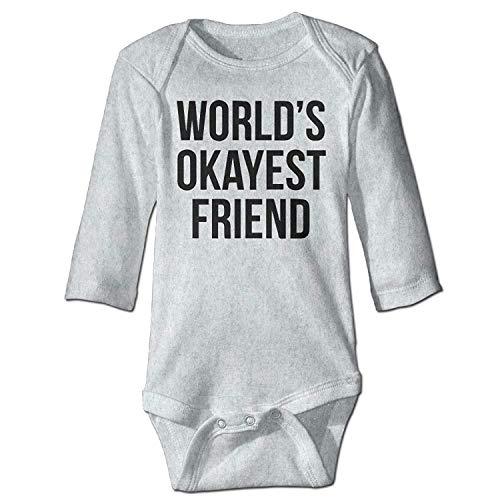 Unisex Newborn Bodysuits World's Okayest Friend Girls Babysuit Long Sleeve Jumpsuit Sunsuit Outfit Ash