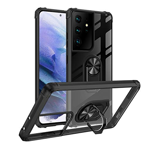Yayoii Compatible with Samsung Galaxy S21 Ultra Case, Fully Protective Cover with Rotating Ring Holder Kickstand Magnetic, 4 Corners Shockproof, Anti-Yellowing Scratch-Resistant 6.8 inch (2021)