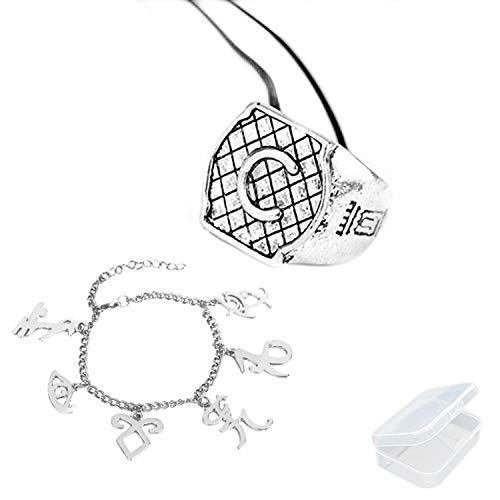 PPX Collar - Anillo - Estrella de la mañana - Ciudad de los Huesos - Los Instrumentos mortales - Cazadores de Sombras - Iniciales grabadas con Letras - Idea de Regalo con Caja (C)