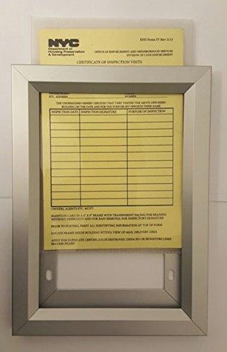 "NYC Inspection Frame 6"" X 9"" (Heavy Duty Frame- Aluminum)"