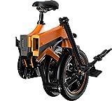 HAINIWER Bicicleta eléctrica plegable, bicicleta eléctrica antideslizante de ciudad y bicicleta 250 W 36 V 16 pulgadas bicicleta eléctrica ligera para adultos hombres y mujeres, NARANJA