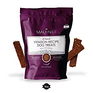Maui Nui Venison Dog Treats 16 oz, Made in The USA – Real Venison Meat – Sustainably Sourced Wild Harvested Axis Deer Jerky