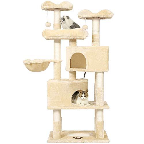 MSmask Kratzbaum für große Katzen, hoch 171 cm Kratzbaum groß mit 2 Katzenhöhlen Katzenbaum Stabil mit Sisal-Kratzstangen, 3 Plattformen, 2 Korb, Kratzbrett, Plüschball (Beige)