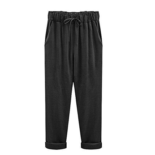 YWLINK 2018 Damen Kleidung,Mode Plus GrößE BeiläUfige Frauen Baumwolle Leinen Hosen Elastische Taille Einfarbig Sommer DüNne Dame Hosen