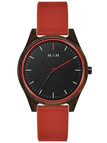 Reloj MAM Areno 695 Unisex, Madera de sándalo, Color Rojo y Negro, 39 mm