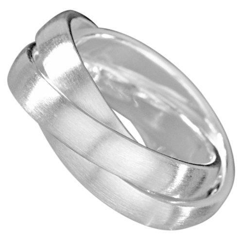 Vinani 3er Ring Wickelring mattiert drei Ringe beweglich Sterling Silber 925 Größe 62 (19.7) Dreierring RSM62