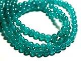 World Wide Gems Cuentas de piedras preciosas 20 piezas - Bolas de jade 6mm azul verde pavo real código-HIGH-69559