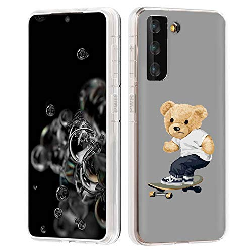TalkingCase Clear Phone Case for Samsung Galaxy S21+ 5G, S30+, (Not S21,S21 Ultra), Thrasher Teddy Print, Light Weight,Flexible,Soft Touch,Anti-Scratch, Designed in USA