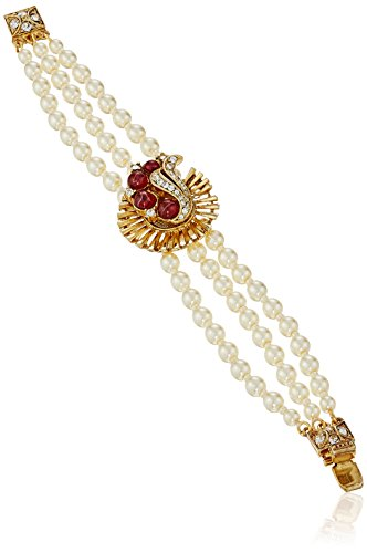 Ben-Amun Jewelry Golden Era Swarovski Crystal Deco Pearl Strand Bracelet for Bridal Wedding Anniversary