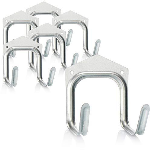 com-four® 6X Gerätehalter aus Stahlblech, Wandhalterung für Gartengeräte und Werkzeuge, universeller Doppelhaken-Wandhalter mit Befestigungsmaterial (6 Stück - Haken - 11.5 x 11 cm)
