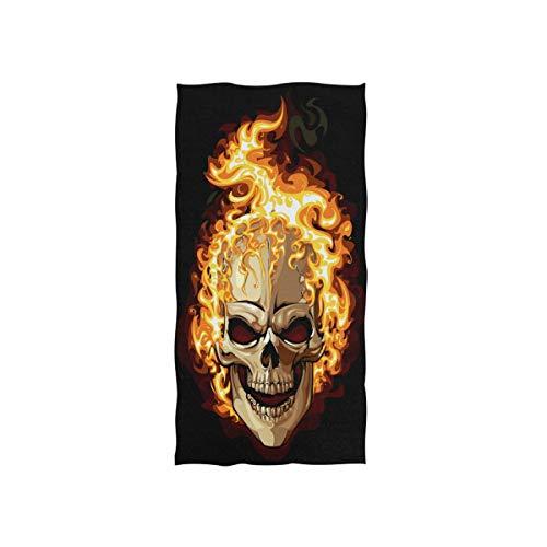 FUNNYY Handtuch mit Totenkopf-Motiv, bedruckt, super saugfähig, für Bad, Strand, Fitnessstudio, Reisen, Fitness, Spa, Zuhause, Küche, Badezimmer, 76,2 x 38,1 cm