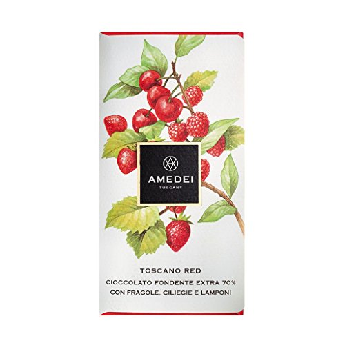 Amedei Toscano Red 70% dunkle Schokolade mit Kirsche Erdbeere Himbeere