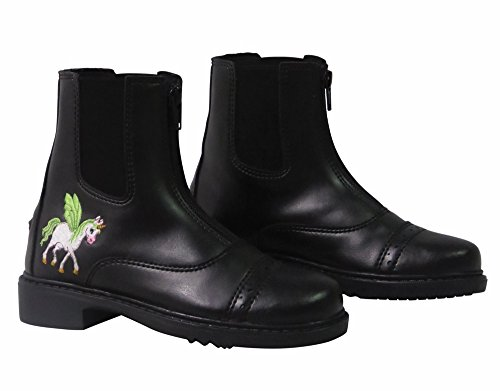 TuffRider Children's Unicorn Front Zip Paddock Boots - Black - 11 CH