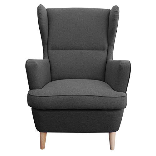myHomery Sessel Lena Webstoff modern - Ohrensessel gepolstert – Polsterstuhl für Esszimmer & Wohnzimmer - Lounge Sessel mit Armlehne - Anthrazit
