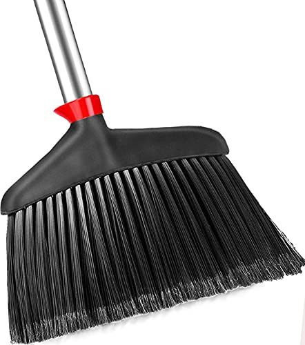 Heavy Duty Broom for Floor Cleaning Outdoor Indoor - CLDREAM Angle Brooms for Sweeping is Perfect Commercial Courtyard Garage Home Kitchen Office Floor Pet Hai