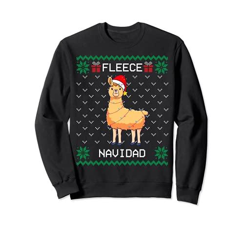 Fleece Navidad, Feliz, Llama Ugly Christmas Sweater, Alpaca Sudadera