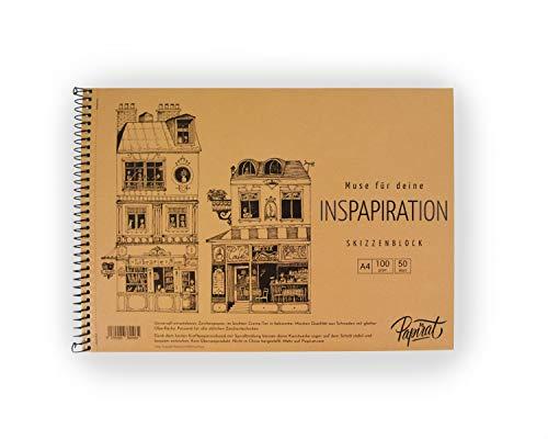 Papirat ∾ Skizzenbuch ∾ Zeichenblock ∾ Malbuch ∾ Malblock ∾ A4 50 Blätter 100 g/qm mit Spiralbindung (Cafe de Paris)