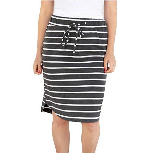 High Waist Skirts for Women Stripe Elastic Drawstring Casual Fashion Midi Skirt (XL, Dark Gray)