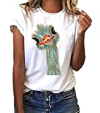 Camiseta Divertida Mujer Dibujos Animados Avestruz Imprimir Gráfico Camiseta bendecida Camiseta Divertida Inspirada Teen Girls Tees Tops S-XXXL