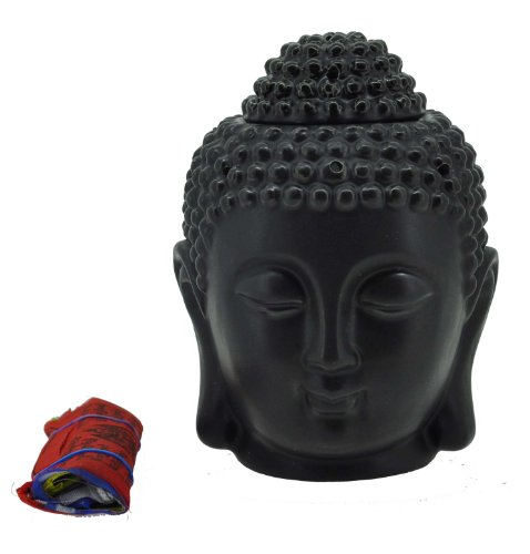 Hinky Imports Mandala Crafts Porcelain Yoga Meditation Black Buddha Head Statue Oil Burner Aromatherapy Diffuser