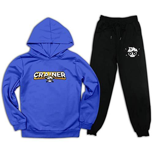 Youth Crai-Ner Pullover Hoodie und Sweatpants Anzug für Jungen Mädchen 2-teiliges Outfit Mode Sweatshirt Set Gr. L, blau/schwarz
