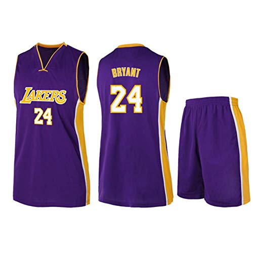 Camiseta de Baloncesto Nº 24 Jersey para Hombre, NBA Los Angeles Lakers Camiseta de Baloncesto sin Mangas Retro Unisex, Chaleco Deportivo para Gimnasio Pantalones Cortos para Fans,Púrpura,XXL
