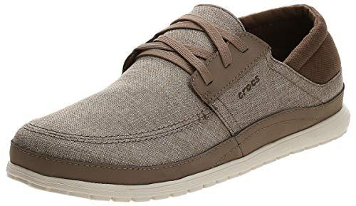 Crocs Men's Santa Cruz Playa Lace-Up Sneaker | Comfortable Casual Loafer, Khaki/Stucco, 9 M US