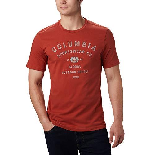 Columbia M Path Lake Bedrucktes Kurzarm-T-Shirt für Herren , Grün (Stone Green CSC Badge), L