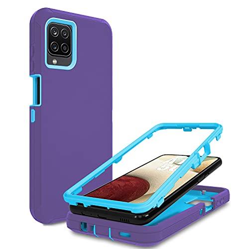 Galaxy A12 5G Case Heavy Duty Cover for Otterbox Samsung Galaxy A12 Case (Purple/Sky Blue)
