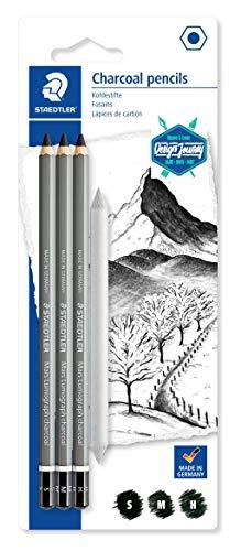Staedtler Mars Lumograph Charcoal, Crayons fusains de très haute qualité, Gamme Design Journey, Étui blister avec 3 crayons assortis et 1 estompe en papier, 100C SBK4