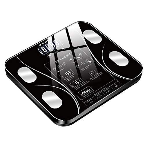 Slimme weegschalen voor in de badkamer met kleine digitale beeldschermvetweegschalen met Engelse functie USB Zwart