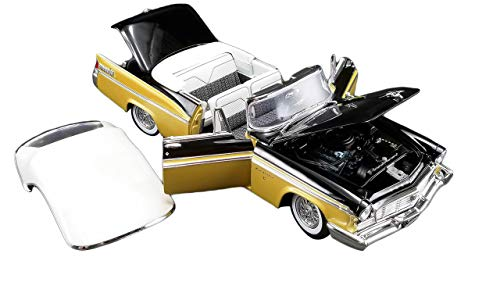 1956 Chrysler New Yorker St. Regis Convertible Nugget Gold & Raven Black w/White Top Limited Edition 558 pcs 1/18 Diecast Model Car by ACME A1809004