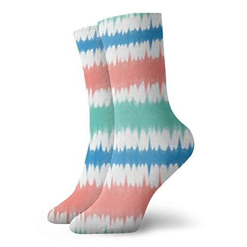 Colin-Design Batik-Socken, Korallenfarben & Blaugrün, 30 cm, Crew-Socken für Männer & Frauen