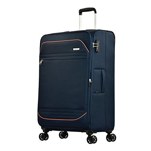 Eminent Koffer Barcelona 67 cm 72 L Weichgepäck super leicht 4 Doppelrollen TSA Schloss Reisegepäck Blau