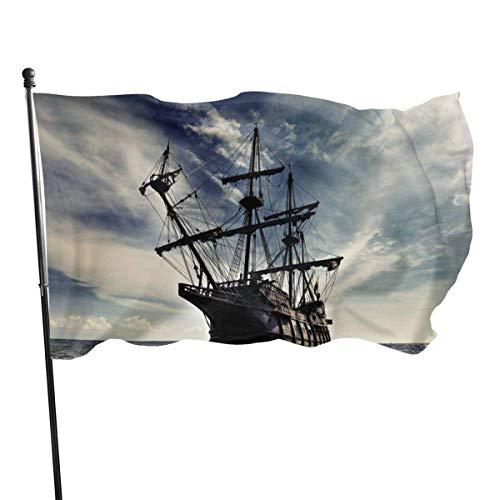 Bandera 3 X 5 pies Bandera de jardín Bandera de Patry Bandera de exterior Bandera de jardín Decoración de la bandera del hogar Barco pirata Océanos Nave de vela Paisajes de cielo Velas