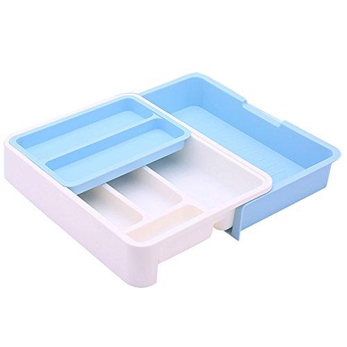 HornTide 3-in-1 Cassetto estraibile Utensile di stoccaggio per utensili Contenitore di plastica per posate per posate Ricevimento e altro - Blu
