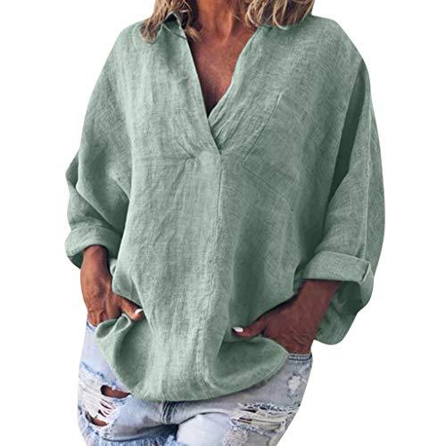 Sale!! Toimothcn Cotton Linen Shirts for Womens Long Sleeve Kaftan Tunic Tops Baggy Blouse Tee Shirt...
