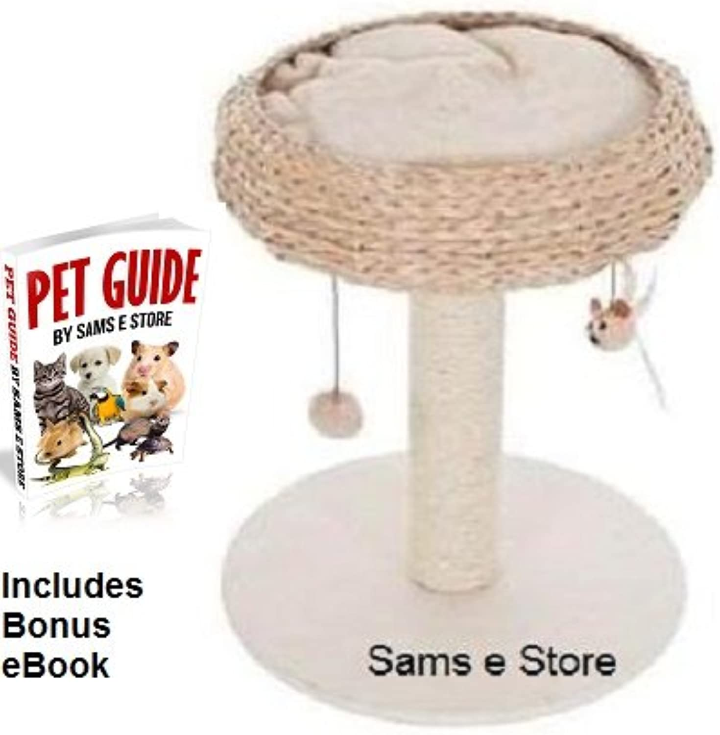 Cat Basket Tree Raised Cushion for Cats and Kittens on Solid wood sturdy base With Cat Sharpening Post and Hanging Toys by Sams e Store