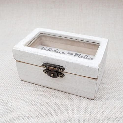 BAWAQAF Caja de anillo de boda personalizada Rústico anillo de madera titular personalizado anillo portador caja,caja,caja de compromiso