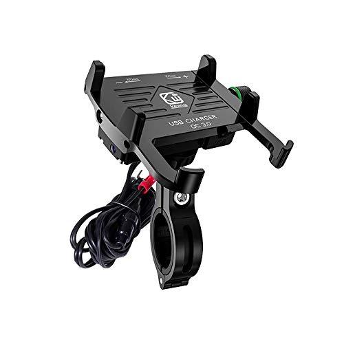 YGL Soporte Móvil Moto con Cargador,Impermeable Aluminio Moto Soporte de Montaje,Cargador USB QC 3.0 Compatible con iPhone Huawei Samsung en vehículos de 12-24 V