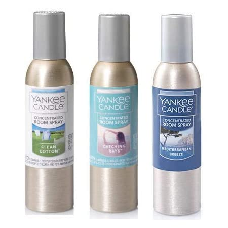 Yankee Candle 3 Pack Clean Air Fragrances. Clean Cotton, Catching Rays and Mediterranean Breeze Concentrated Room Spray 1.5 Oz.