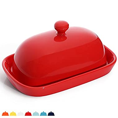 Sweese 3166 Porcelain Cute Butter Dish With Lid, Perfect For East/West Butter, Red