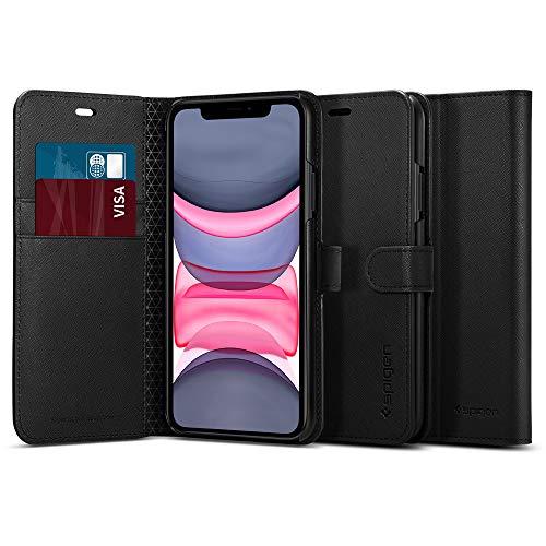 【Spigen】 iPhone 11 Pro ケース 手帳型 5.8インチ 対応 カード収納付き スタンド機能 ワイヤレス充電対応 ウォレットS サフィアーノ 077CS27247 (ブラック)