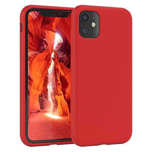 EAZY CASE Premium Silikon Handyhülle kompatibel mit iPhone 11, Slimcover mit Kameraschutz & Innenfutter, Silikonhülle, Schutzhülle, Bumper, Handy Hülle, Hülle, Softcase, Rot