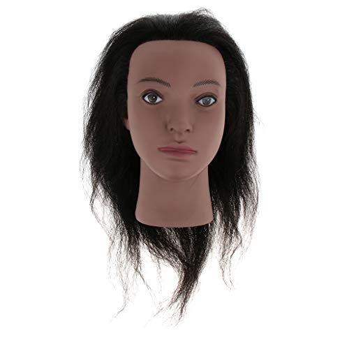harayaa Maniquíes de Cosmetología Afroamericana Head Yak Hair para Entrenamiento de Peluquería