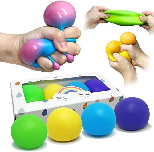 VCOSTORE 4Pcs Anti Stress Stretch Balls, Squishy Stress Ball Spielzeug Sensorisches Spielzeug und Stress Relief Balls gegen Angstzustände, ADHS und Autismus