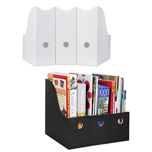 Dunwell Magazine File Holder Cardboard - (6 Pack, 3 White, 3 Black), Sturdy Magazine Holder, Magazine Organizer, Magazine Storage Box, Book Bins, Magazine File Holder, Desk and Shelf Organizer
